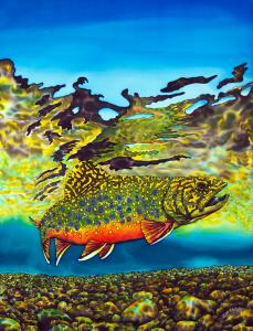 Brook Trout painted on SILK.